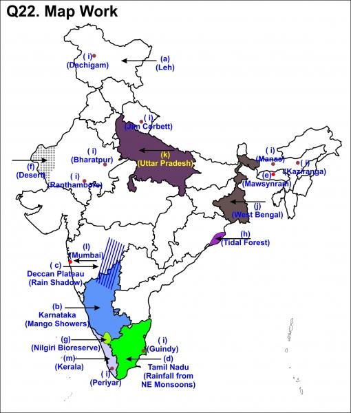 Class IX SA 2 Geography Q22 Map Work
